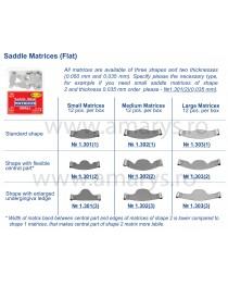 Matrici dentare Saddle Plate - parte centrala flexibila MEDII TOR VM 12 buc